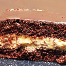Prajitura cu ciocolata si crema caramel cu nuci